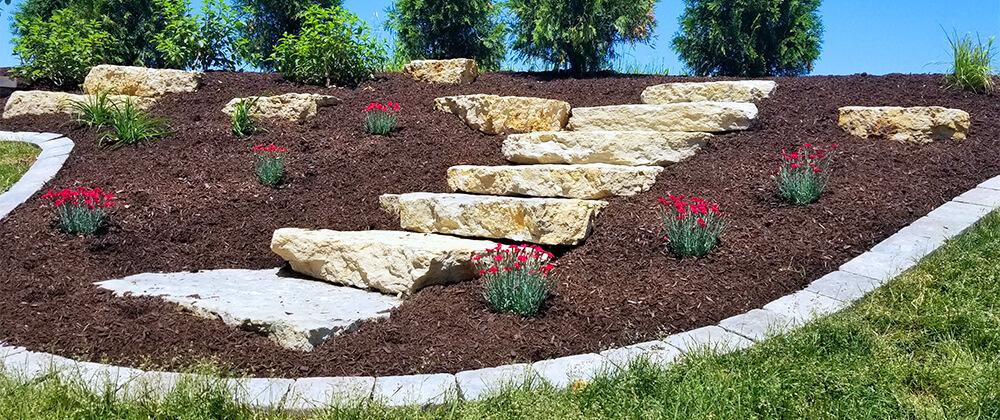 meyer landscape landscape renovation bold outlined garden bed with steps