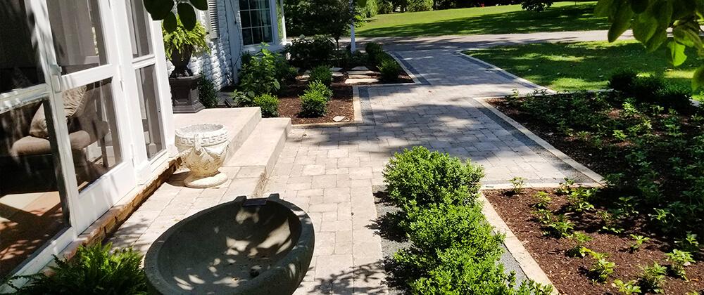 meyer landscape landscape renovation walkway and shrubs